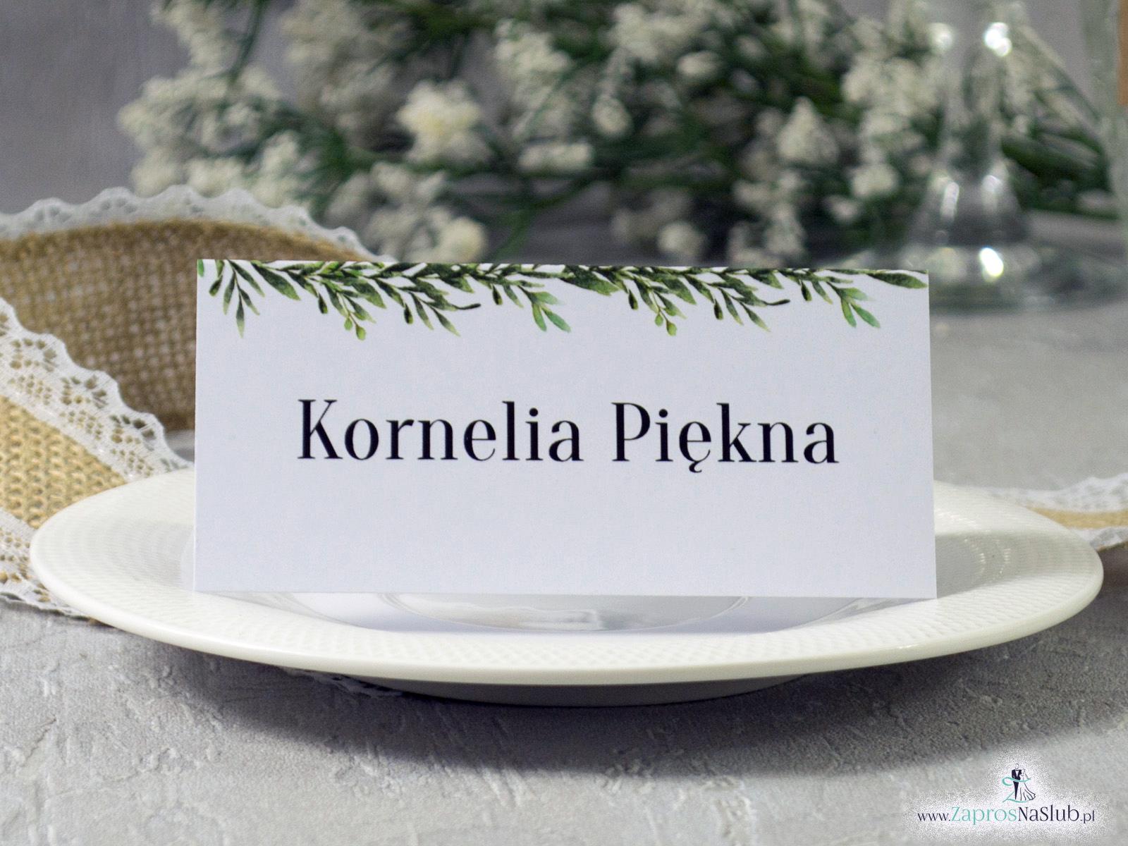 Winietka w stylu rustykalnym z motywem zielonych liści WIN-111-2