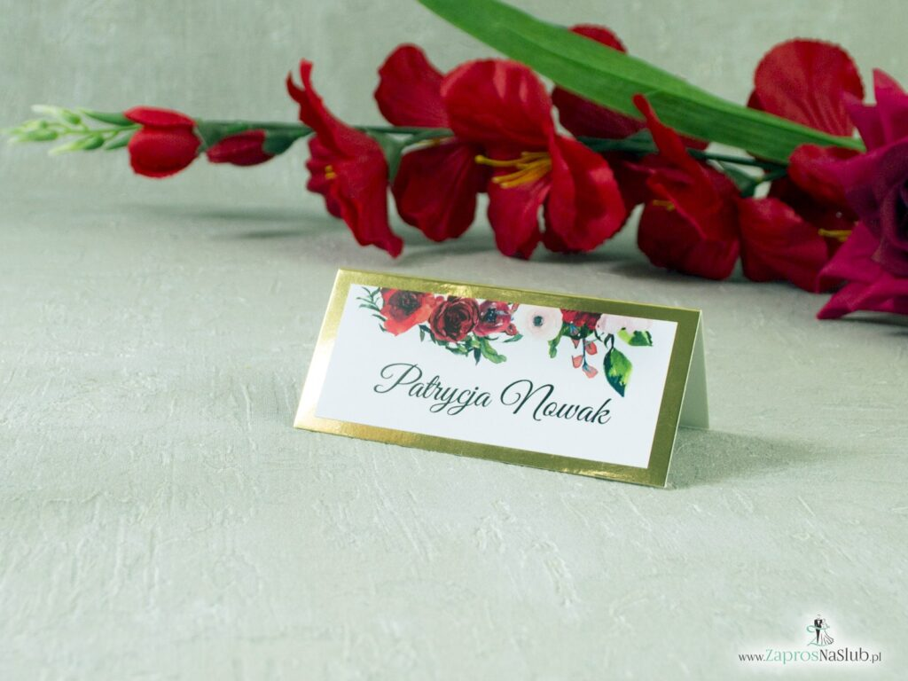 Winietki ślubne kwiatowe, czerwone róże, złote efekt lustra WIN-114-1-min