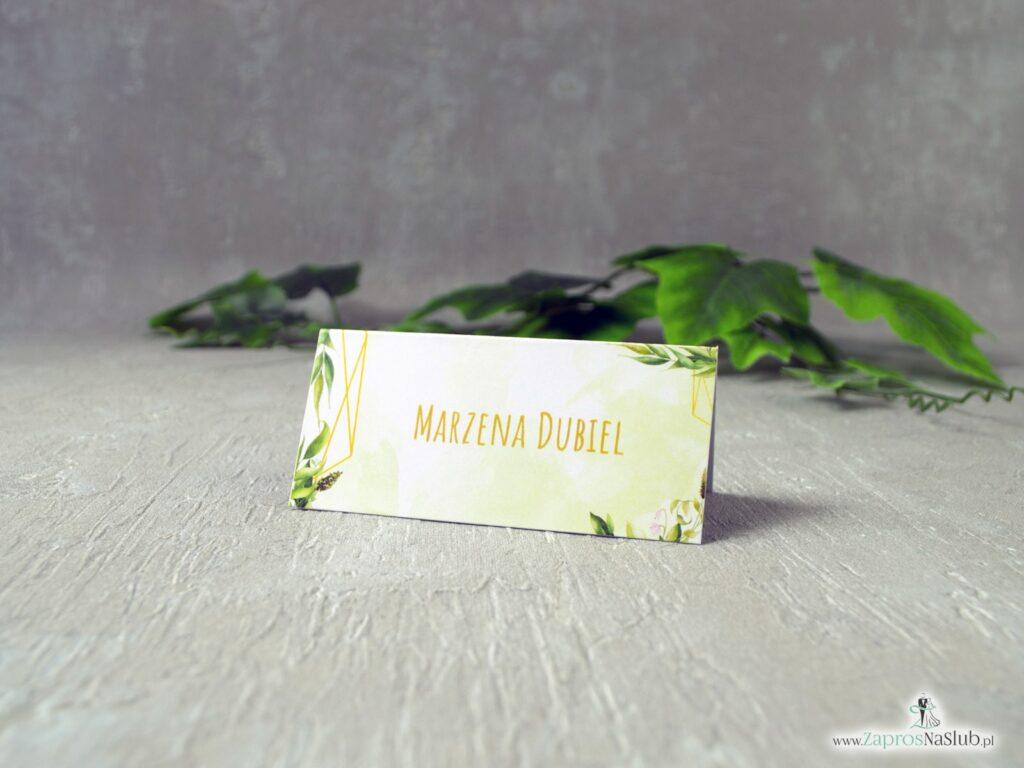 Winietki geometryczne w stylu rustykalnym z motywem zielonych liści WIN-41-01