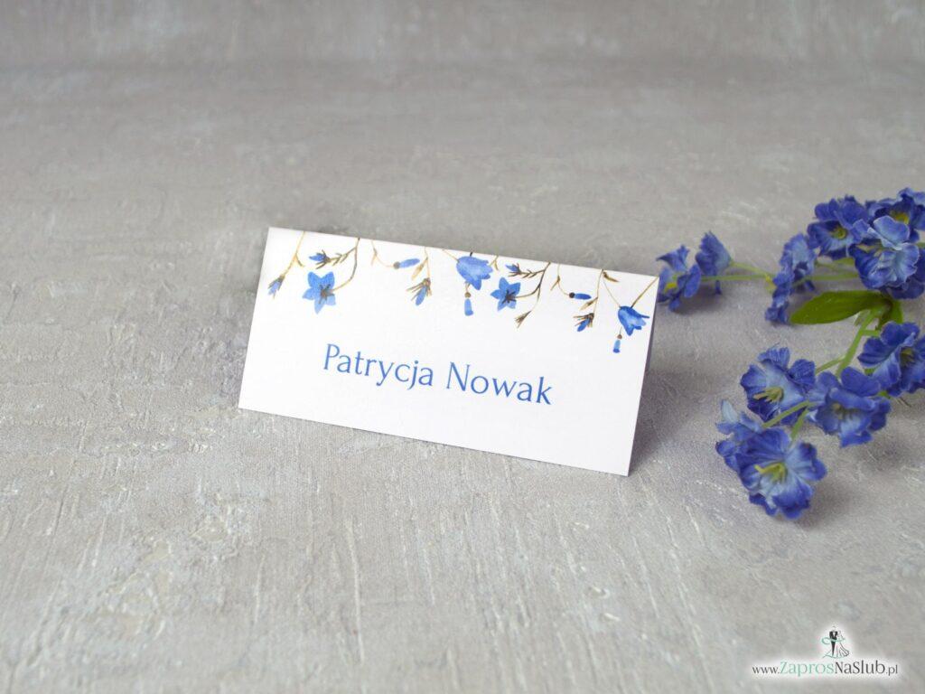 Winietki z niebieskimi kwiatami dzwonków, kwiatowe eleganckie WIN-124-2