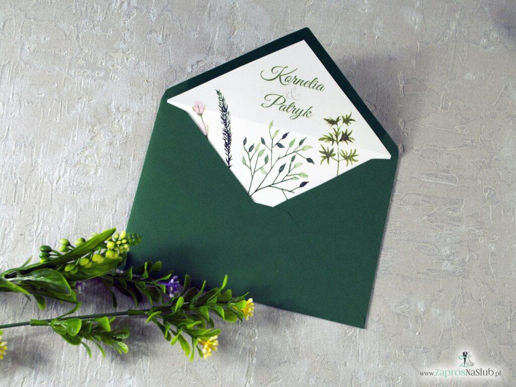 Wkładka do koperty w stylu rustykalnym. Botaniczne rustykalne zielone liście WDK-123