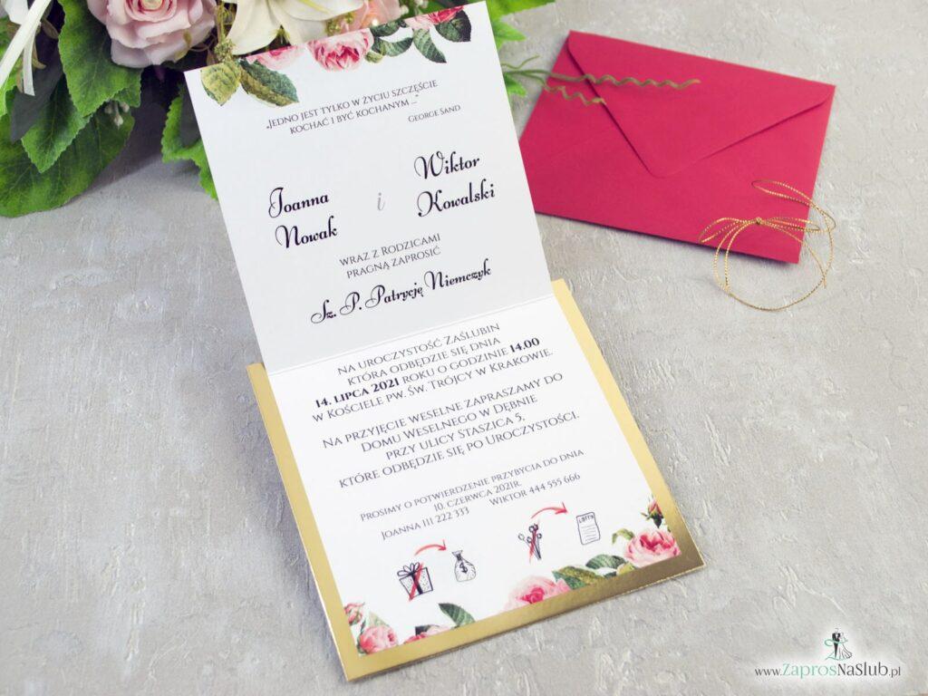 Wnętrze zaproszenia ślubnego na złotym papierze z motywem kwiatów róży i zielonych liści ZAP-110-min