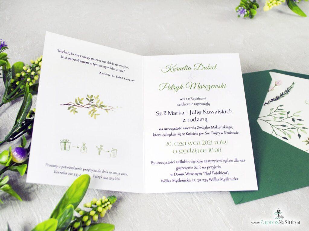 Wnętrze zaproszenia ślubnego, rustykalne liście, botaniczne, boho ZAP-123