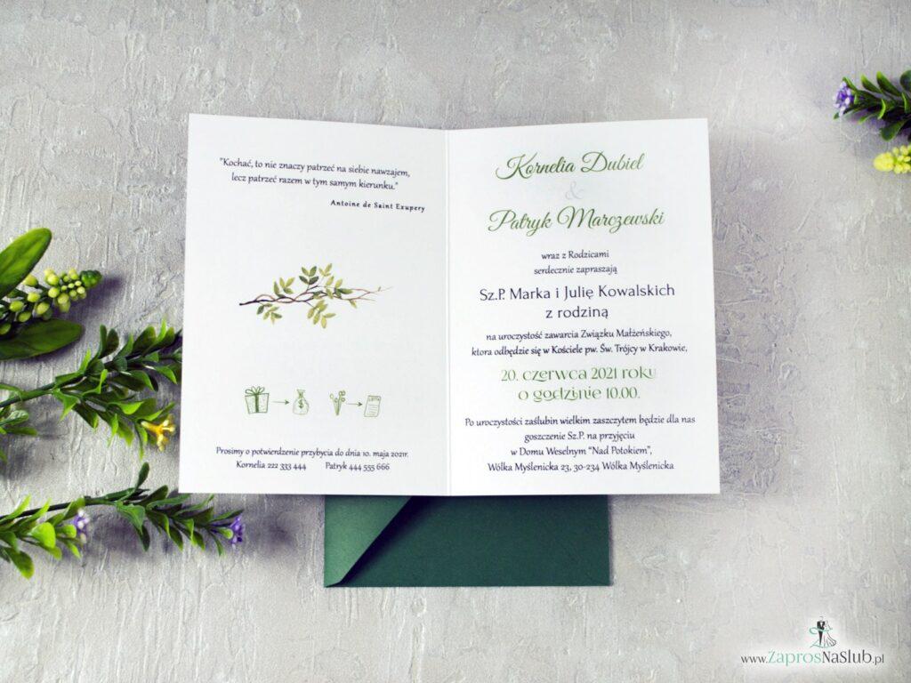 Wnętrze zaproszenia na slub w stylu rustykalnym z motywem zielonych liści, botaniczne, boho ZAP-123