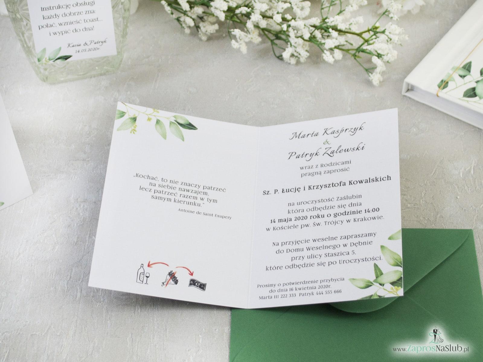Rustykalne zaproszenie z gałązkami zielonych liści ZAP-115