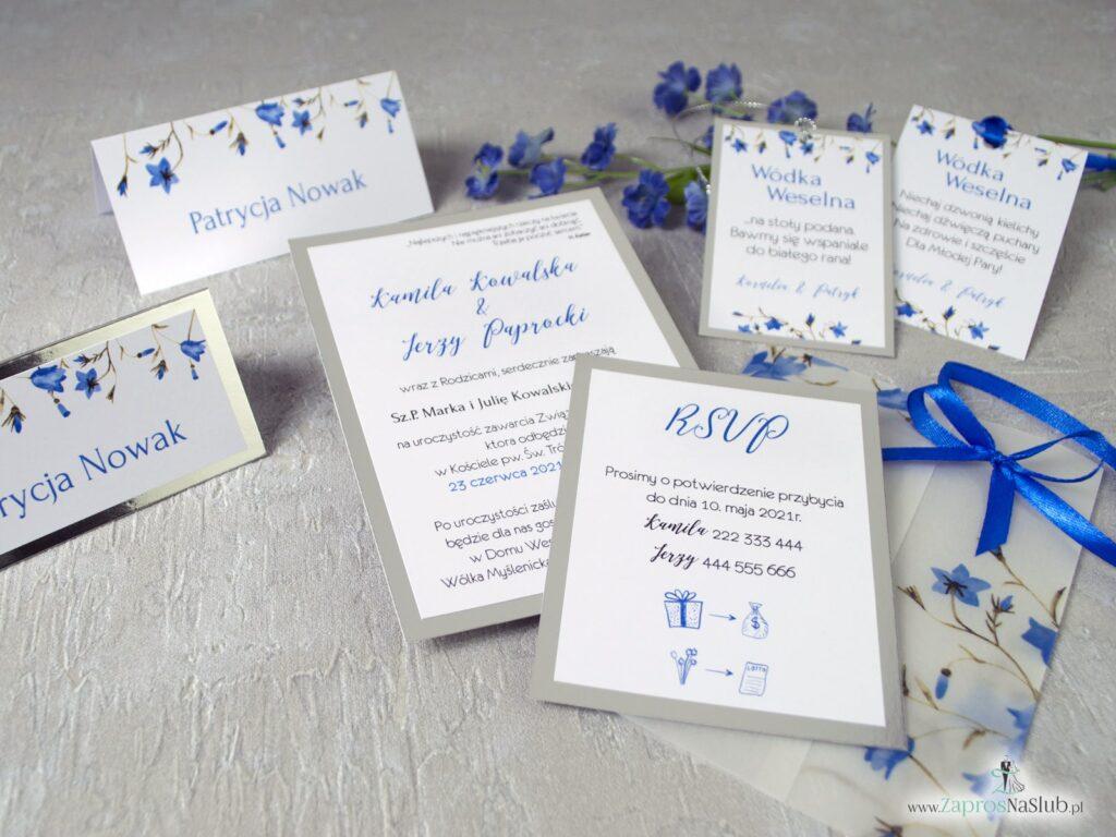 Zaproszenia śłubne na srebrnym papierze z efektem lustra oraz kwiatami dzwonków ZAP-124-min