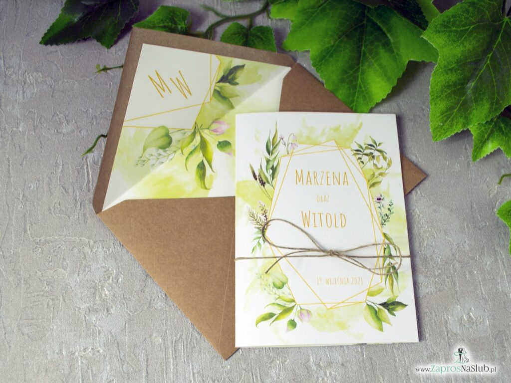 Zaproszenia ślubne geometryczne, rustykalne z motywem zielonych liści i sznurkiem eko ZAP-41-01