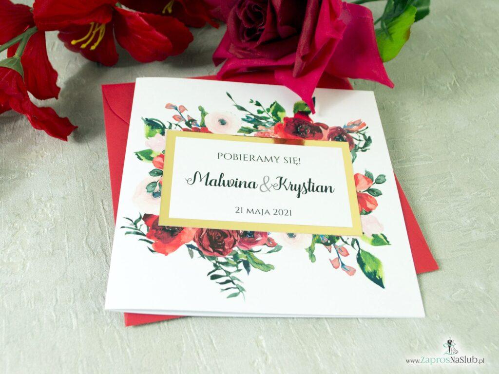Zaproszenia ślubne kwiatowe czerwone, złota ramka, złote, kwiaty róży ZAP-114-min