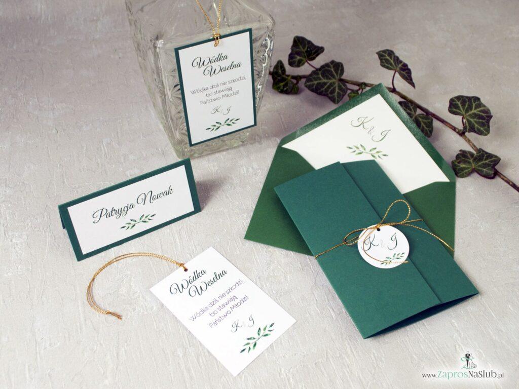 Zaproszenia ślubne w ciemnej zieleni, eleganckie, rustykalne ZAP-125-min