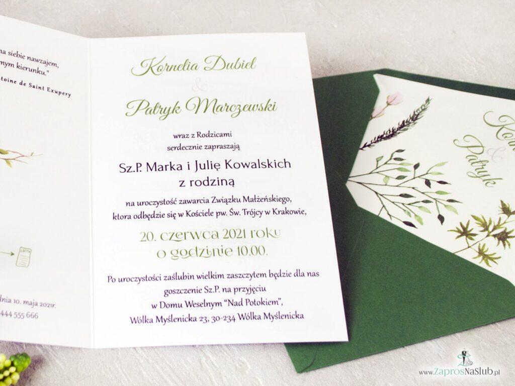 Zaproszenia ślubne z wkładką do koperty z zielonymi liśćmi w stylu rustykalnym z motywem zielonych liści ZAP-123