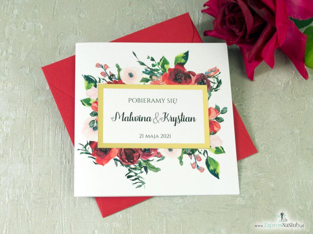 Zaproszenia na ślub eleganckie z kwiatami róży oraz zielonymi liśćmi, złote lustro, modne ZAP-114-min