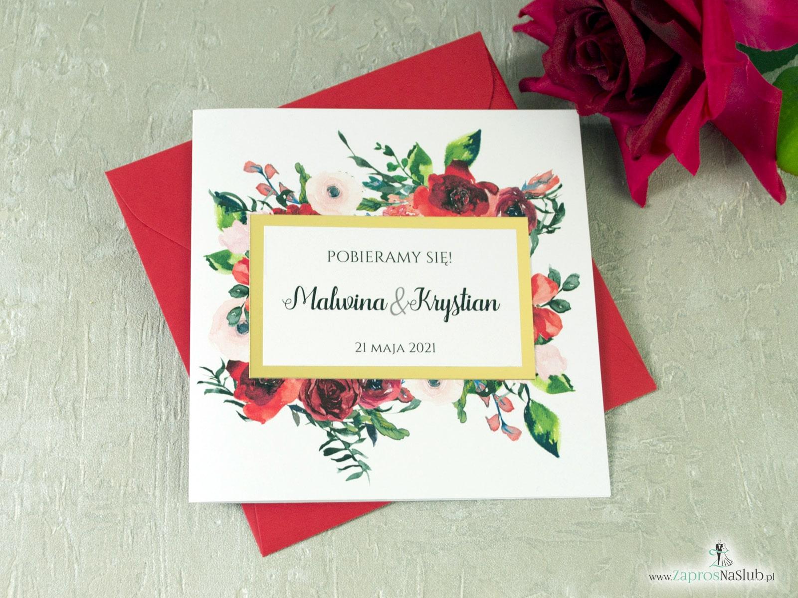 Zaproszenia ślubne kwiatowe z czerwonymi różami oraz motywem tekstowym w ramce ze złotego papieru z efektem lustra ZAP-114