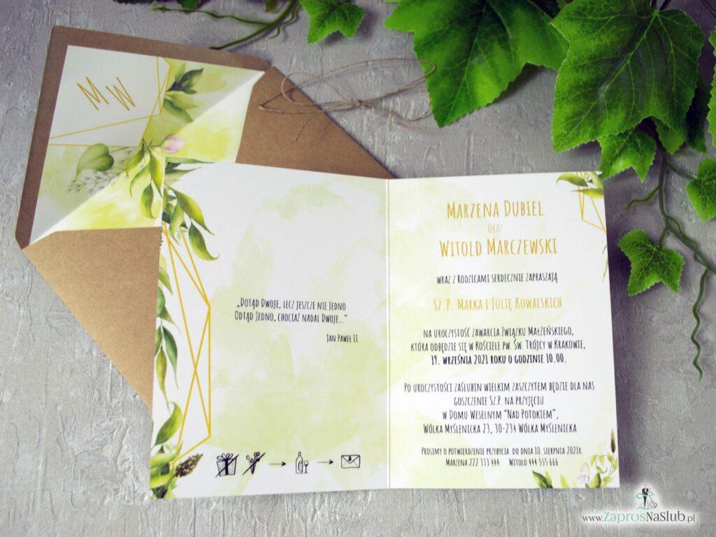 Zaproszenia na ślub geometryczny z rustykalnymi liśćmi w kolorze zieleni, rebusy ślubne ZAP-41-01