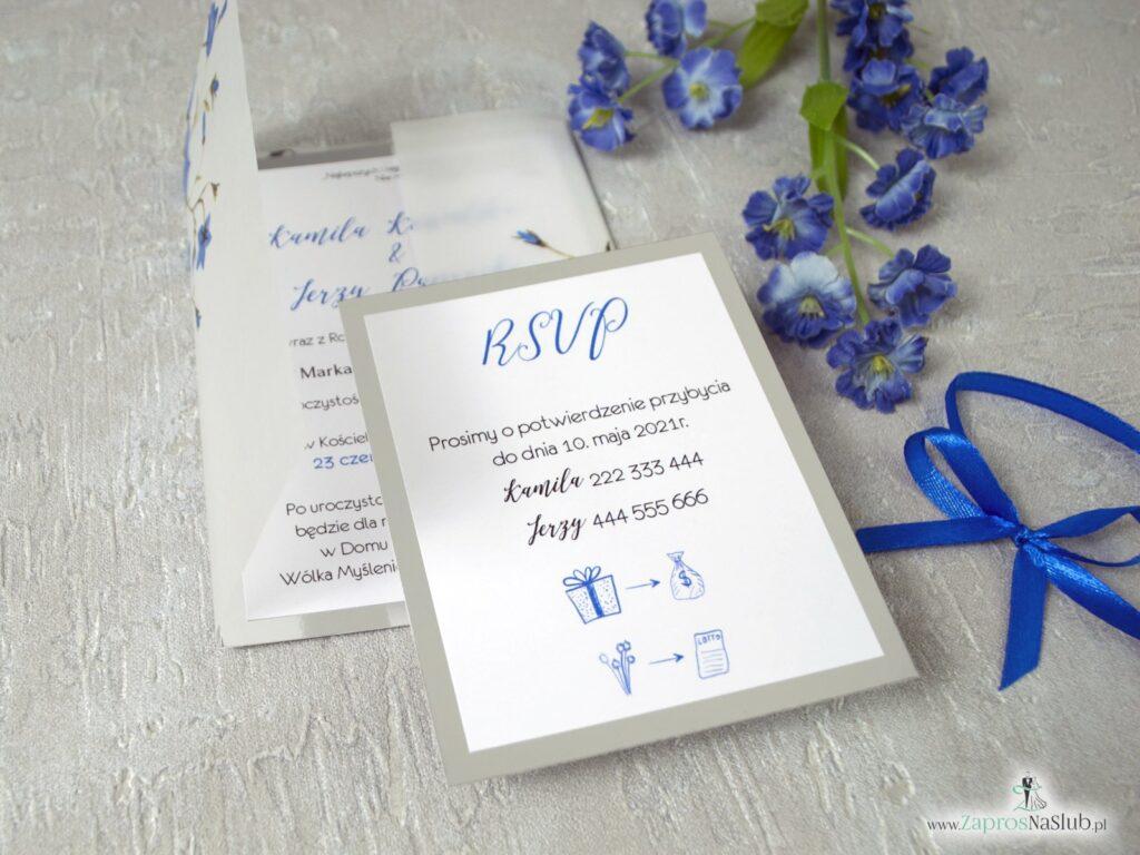 Zaproszenia na ślub z kalką. Dwuczęściowe, wkładka rsvp, srebrny papier z efektem lustra, granatowa wstążka, rebusy ślubne ZAP-124-min