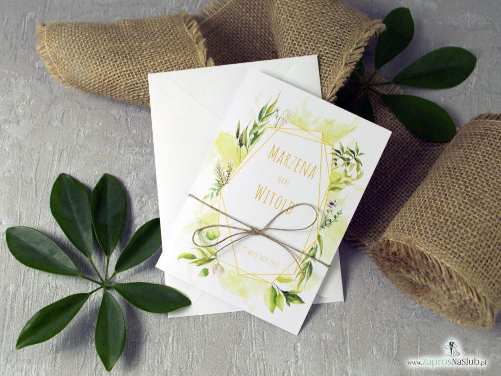 Zaproszenia na ślub z motywem zielonych liści i geometryczną ramką w stylu rustykalnym ZAP-41-01