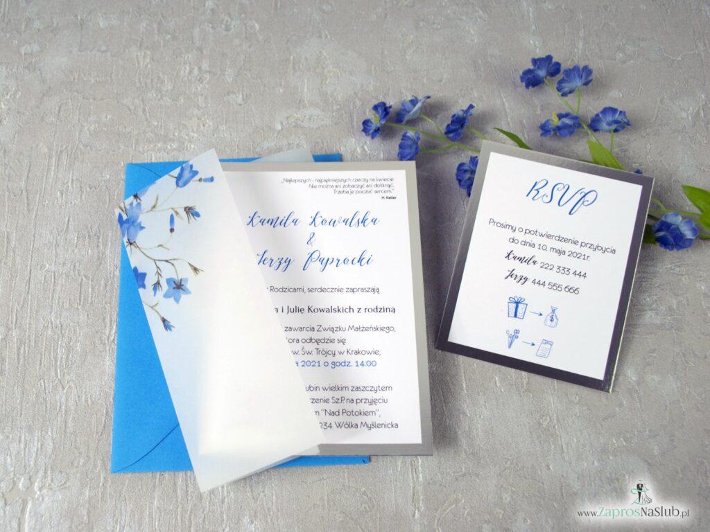Zaproszenia na slub na kalce, kwiatowe, dzwonki niebieskie, granatowa wstążka, wkładka rsvp, eleganckie ZAP-124-min