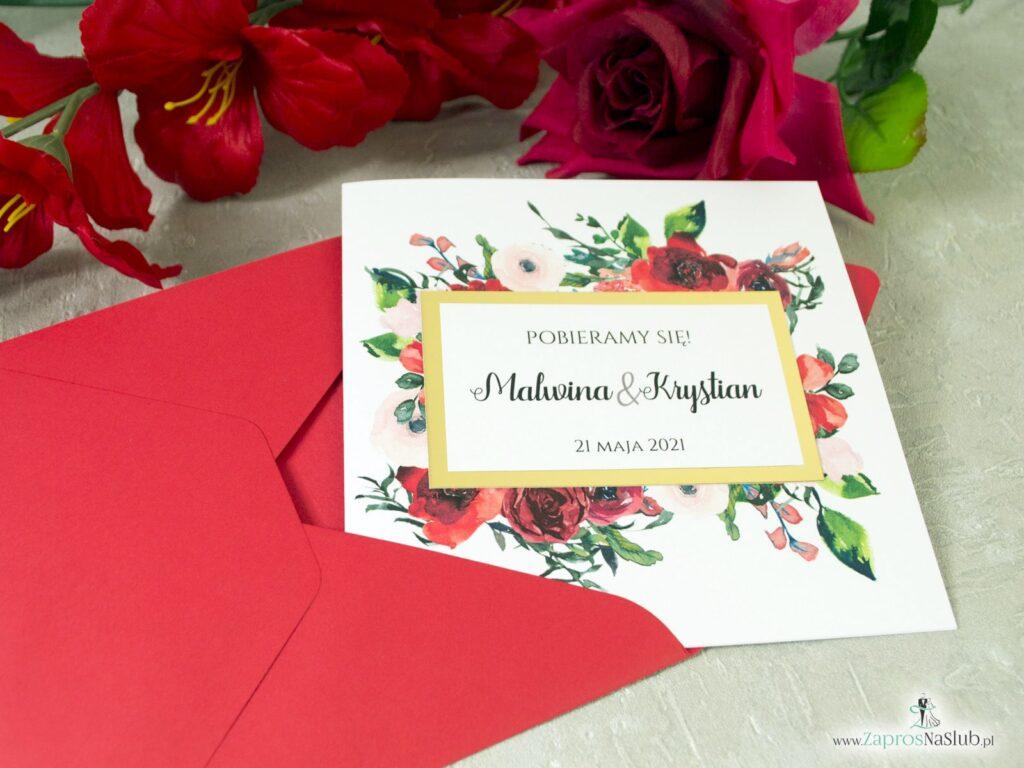 Zaproszenia na slub z kwiatami rozy, efekt lustra złoty, kwadratowe ZAP-114-min