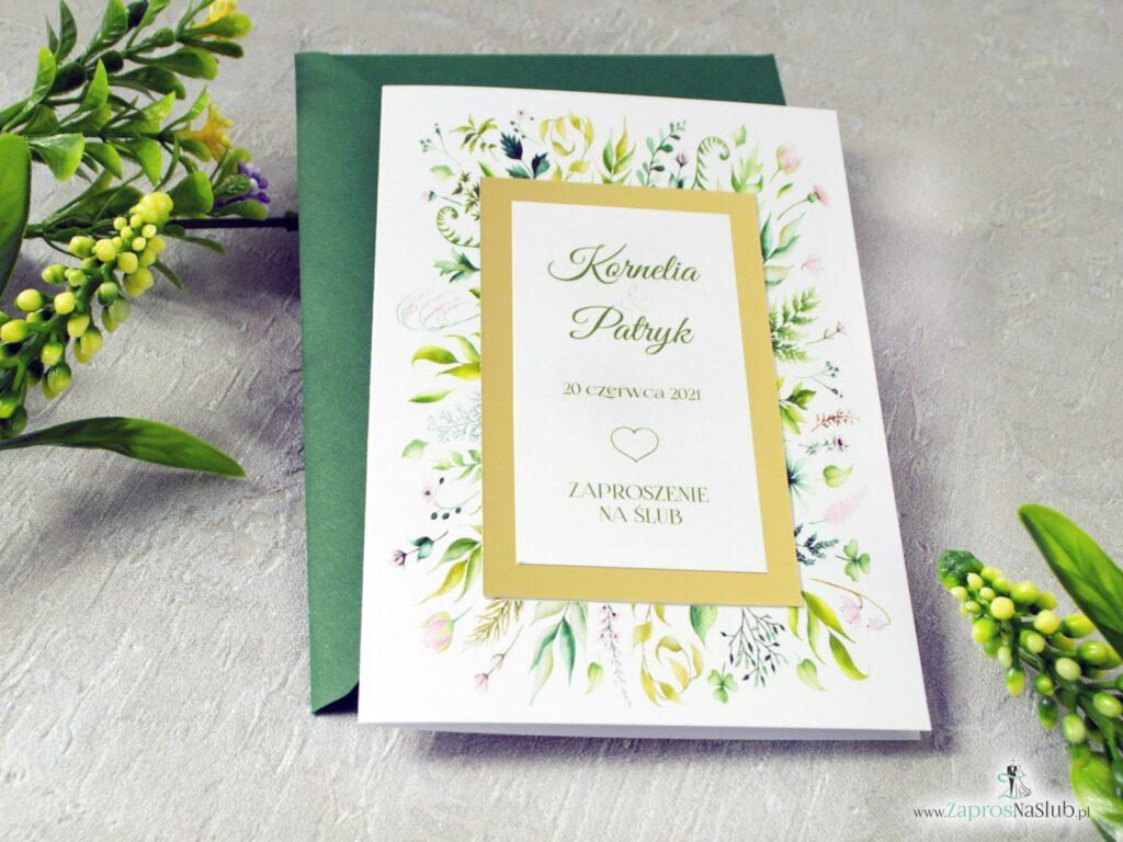 Zaproszenia slubne, zielona koperta, rustykalne, liście, złoty papier ZAP-123