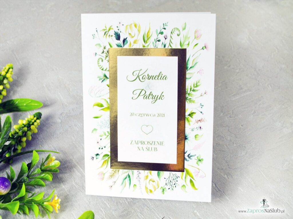 Zaproszenie ślubne botaniczne liście złoty papier lustro ZAP-123