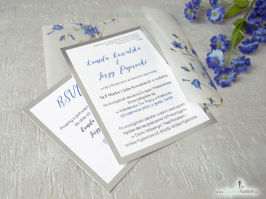 Zaproszenie ślubne dwuczęściowe z kalką na srebrnym papierze z kwiatami dzwonków wkładka rsvp ZAP-124-min