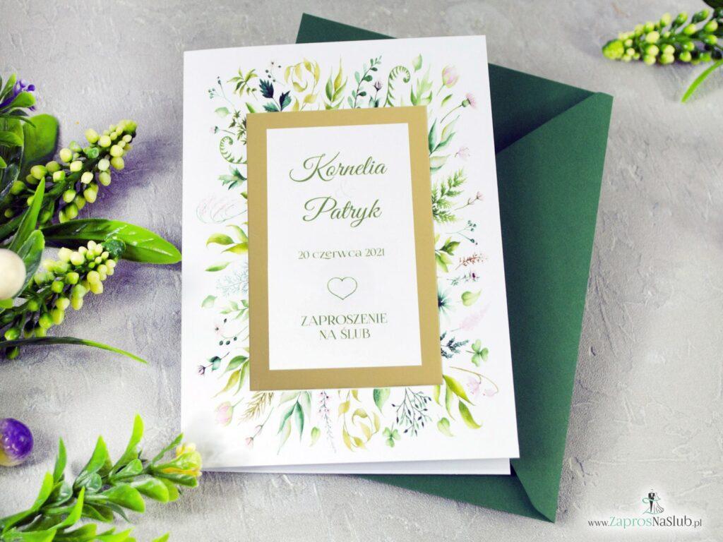 Zaproszenie ślubne eleganckie z zielonymi liścmi w stylu boho. ZAP-123