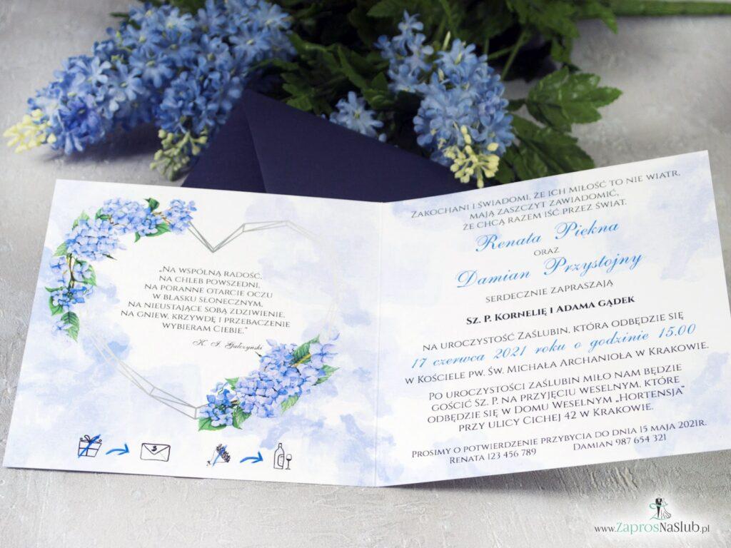 Zaproszenie ślubne, geometryczne serce, kwiaty hortensje niebieskie ZAP-41-11-min