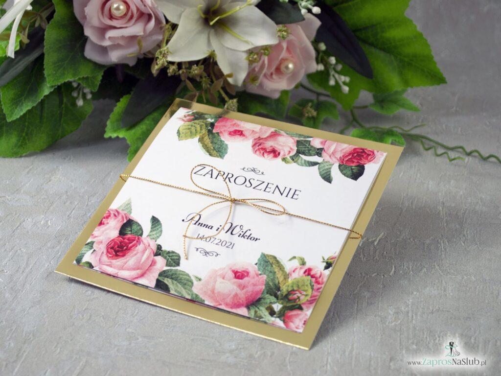 Zaproszenie ślubne kwiatowe papier złote lustro, kwiaty róże, zielone liście ZAP-110 -min