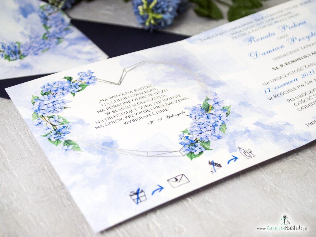 Zaproszenie ślubne kwiatowe z geometrycznym sercem i kwiatami hortensji ZAP-41-11-min