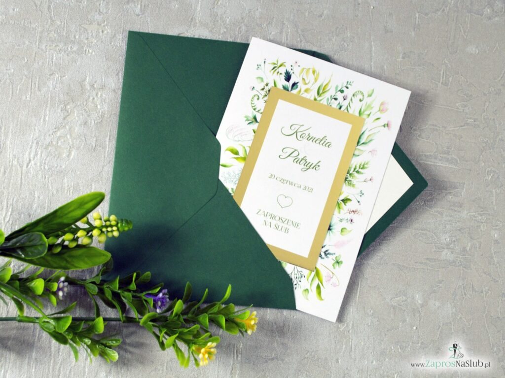 Zaproszenie ślubne liście zielone, zielona koperta, wkładka do koperty z motywem liści ZAP-123
