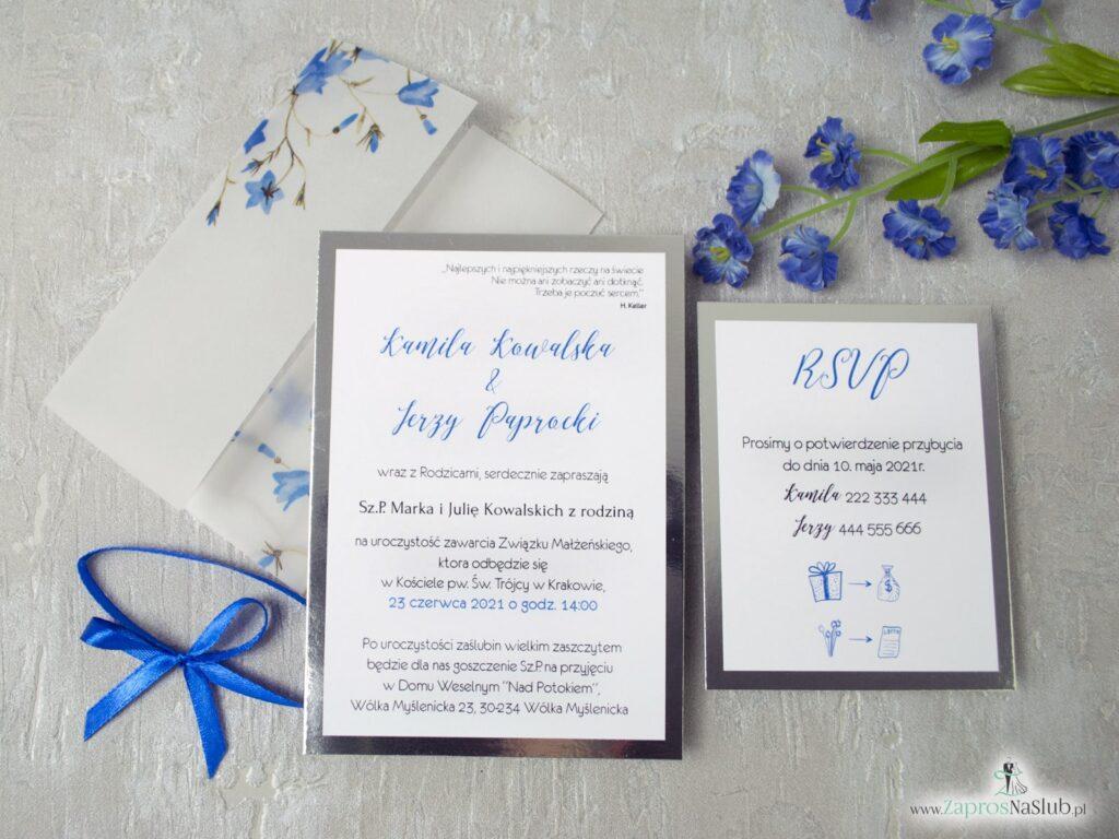 Zaproszenie ślubne na kalce, dwuczęściowe z wkładką rsvp, niebieski kwiaty dzwonki ZAP-124-min