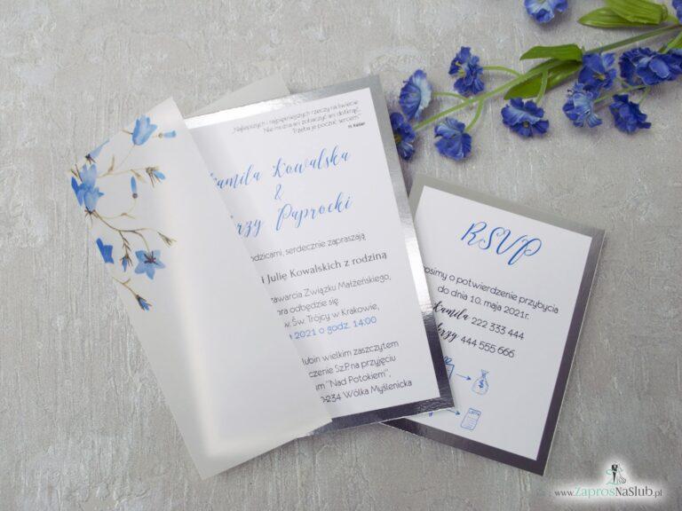 Zaproszenie ślubne, okładka z kalki, dwie części, treść oraz rsvp, na kalce kwiaty dzwonków, papier srebrny lustro ZAP-124-min