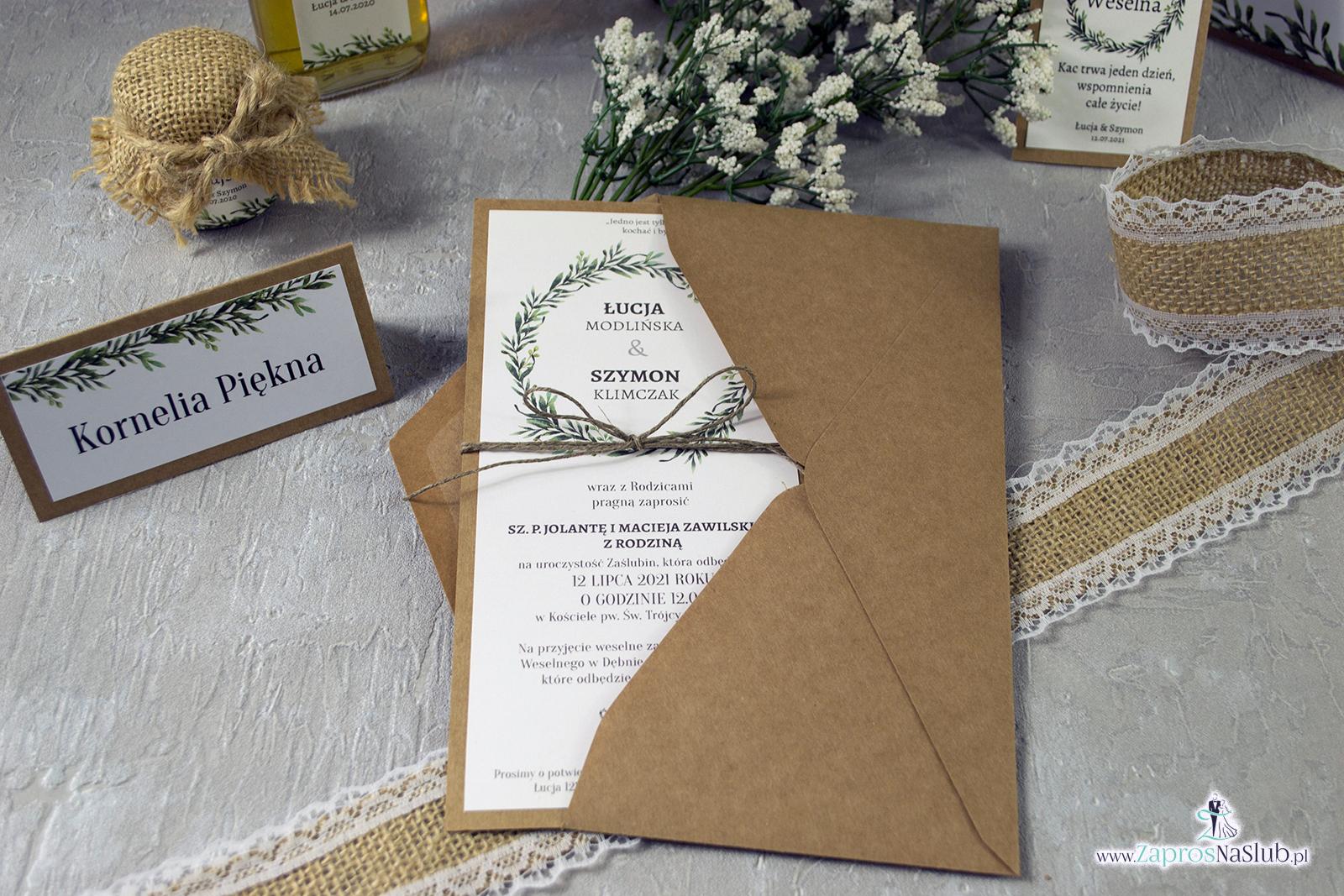 Zaproszenie ślubne eko w formacie DL eko z motywem zielonych liści i wianka ze sznurkiem eko w koperta eko zestaw- ZAP-111 zaprosnaslub