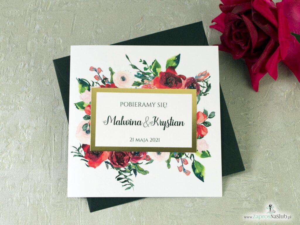 Zaproszenie ślubne z czerwonymi kwiatami oraz motywem w złotej ramce z efektem lustra modne 2021 ZAP-114-min
