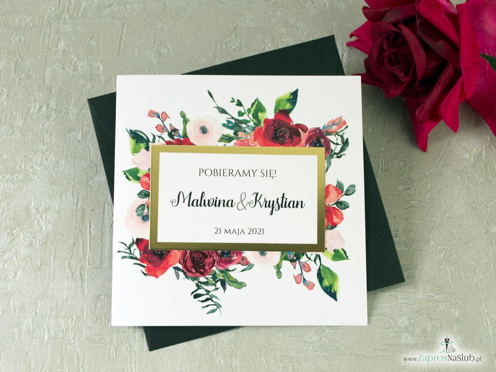 Prestiżowe Zaproszenie ślubne z czerwonymi kwiatami oraz motywem w złotej ramce z efektem lustra modne 2021 ZAP-114-min