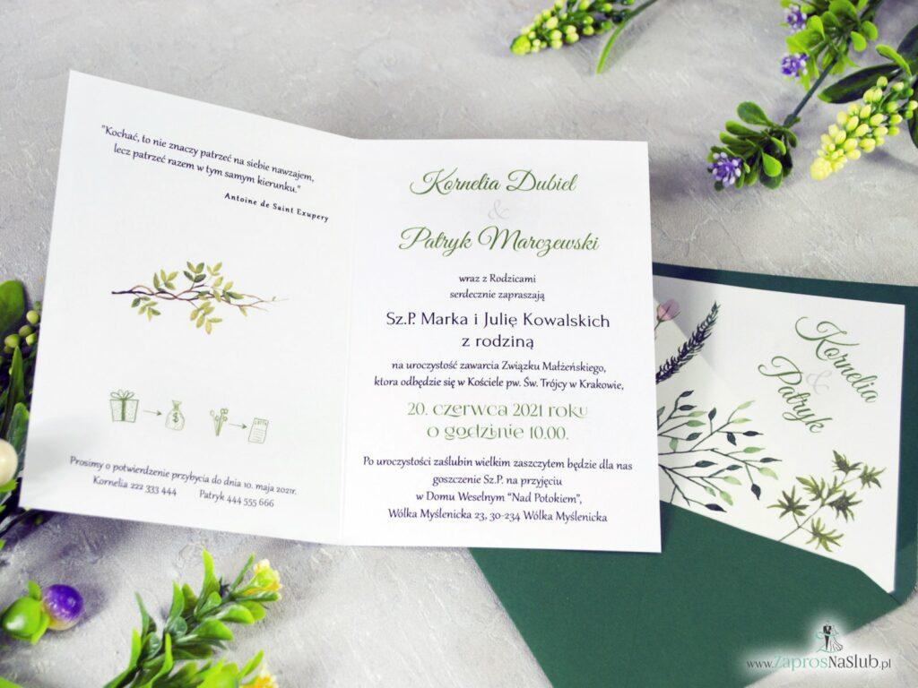 Zaproszenie ślubne z liścmi w różnych odcieniach, boho, rustykalne 2021, ZAP-123