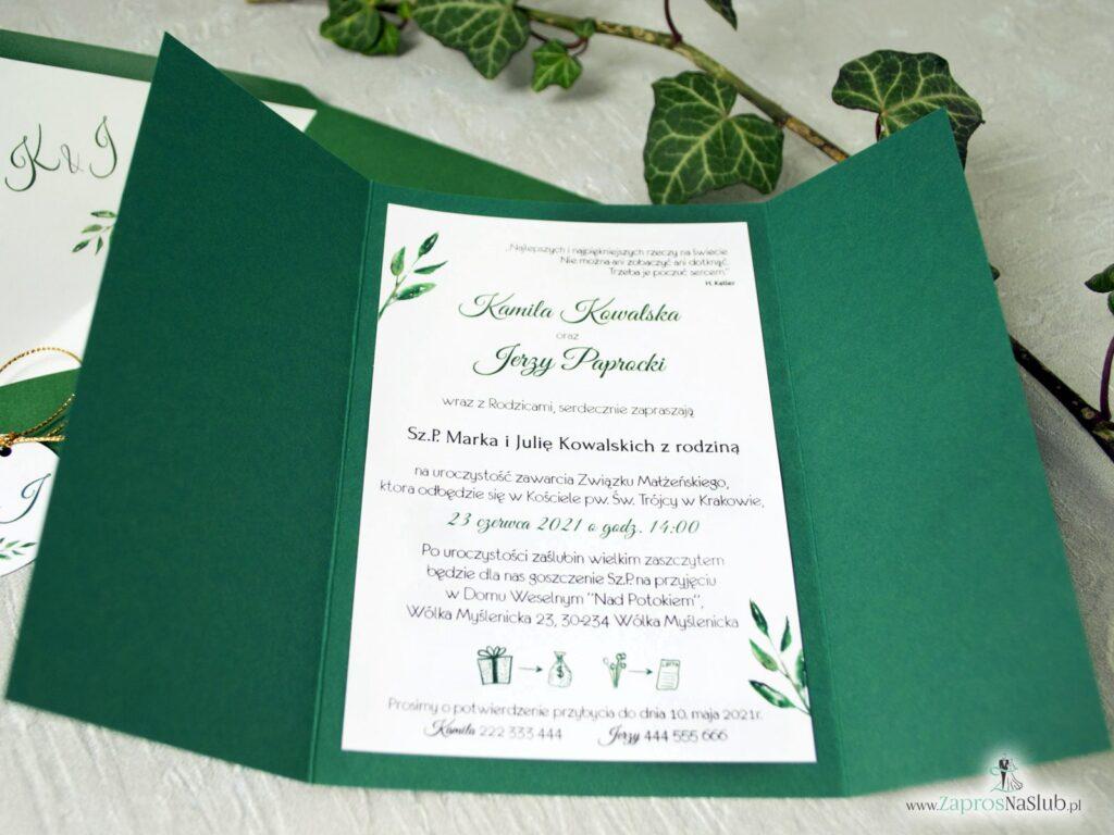 Zaproszenie ślubne zielone z zielonymi liśćmi, eleganckie ZAP-125-min