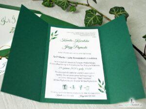 Zaproszenie rustykalne w kolorze butelkowej zieleni ze złotym sznurkiem. ZAP-125