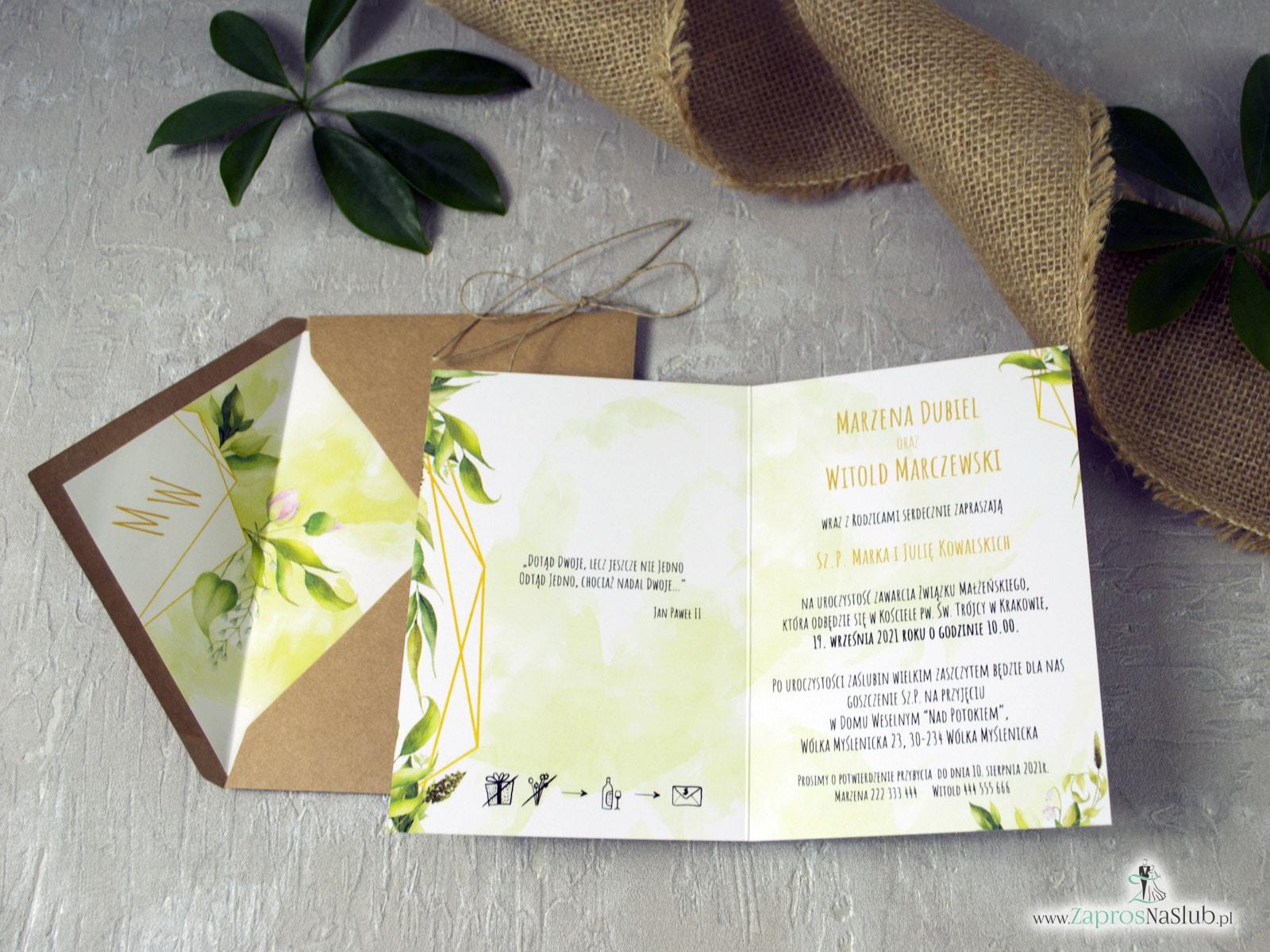 Geometryczne zaproszenia z zielonymi liśćmi w stylu rustykalnym. ZAP-41-01