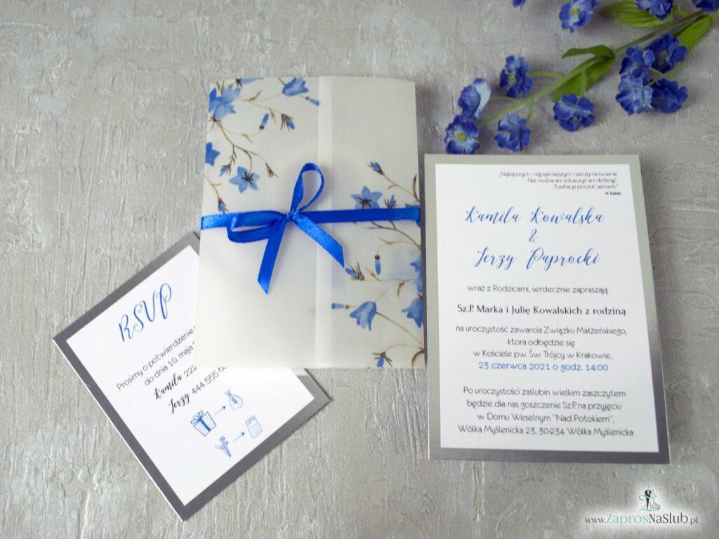 Zaproszenie na ślub kwiatowe, na srebrnym papierze, nadruk na kalce, motyw kwiatów dzwonków ZAP-124-min