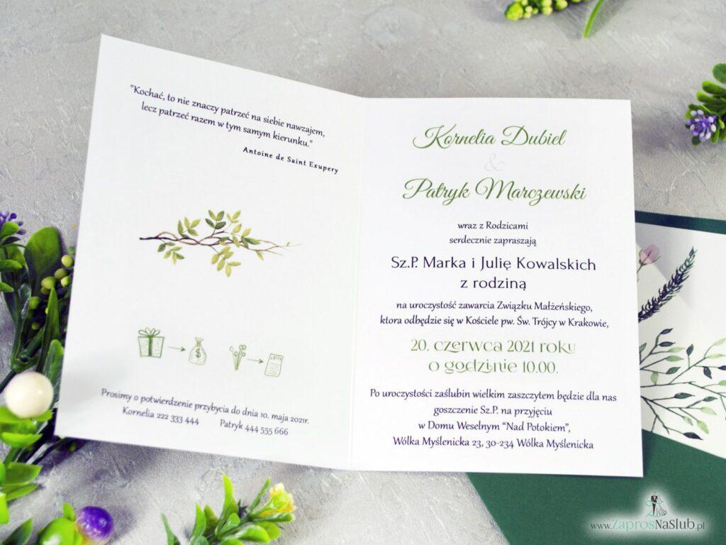 Zaproszenie na ślub, styl botaniczny, personalizowane, liście, rebusy ślubne, zielone ZAP-123