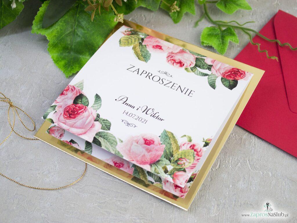 Zaproszenie na ślub, złoto, kwiaty, royal, złoty papier ZAP-110-min