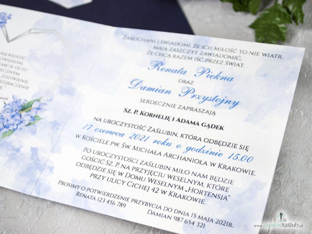 Zaproszenie na ślub z geometrycznym sercem i kwiatami hortensji ZAP-41-11-min