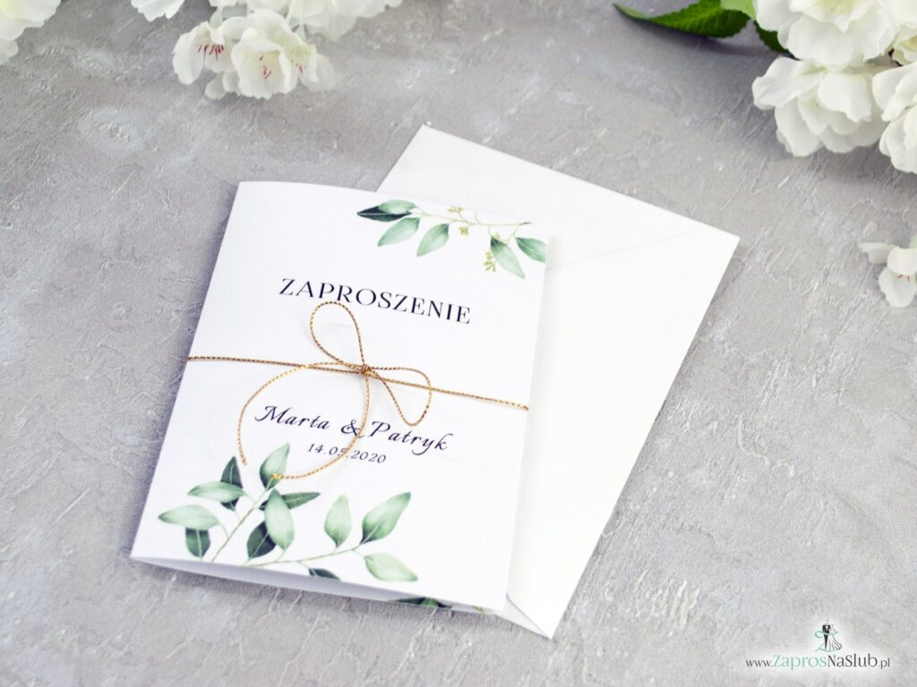 Zaproszenie na ślub z motywem zielonych liści i gałązek ZAP-115-min