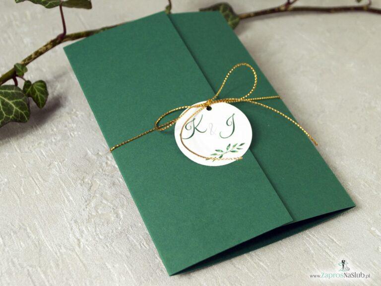 Zaproszenie na ślub, zielone, listki, eleganckie, złoty sznurek ZAP-125-min