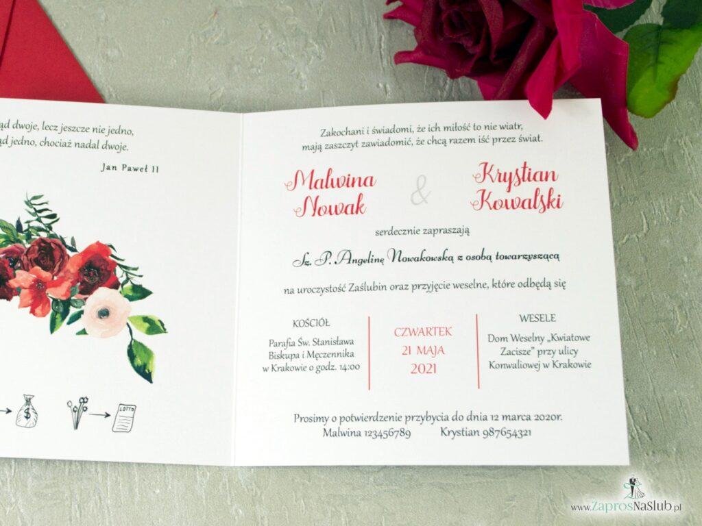 Zaproszenie na slub z kwiatami róży, czerwone, efekt lustra, złote ZAP-124-min