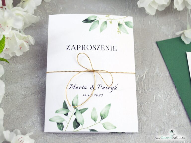 ZaprosNaSlub - Zaproszenia ślubne, personalizowane, boho, rustykalne, kwiatowe księga gości, zawieszki na alkohol, winietki, koperty, plany stołów - Rustykalne zaproszenie z gałązkami zielonych liści ZAP-115