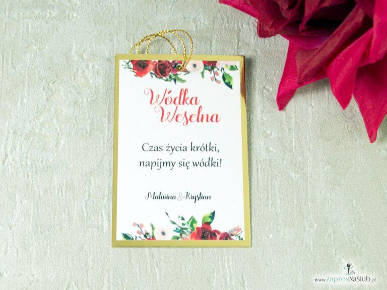 ZaprosNaSlub - Zaproszenia ślubne, personalizowane, boho, rustykalne, kwiatowe księga gości, zawieszki na alkohol, winietki, koperty, plany stołów - Eleganckie zawieszki na alkohol z motywem czerwonych róż oraz złotego papieru z efektem lustra. ZAW-114-1