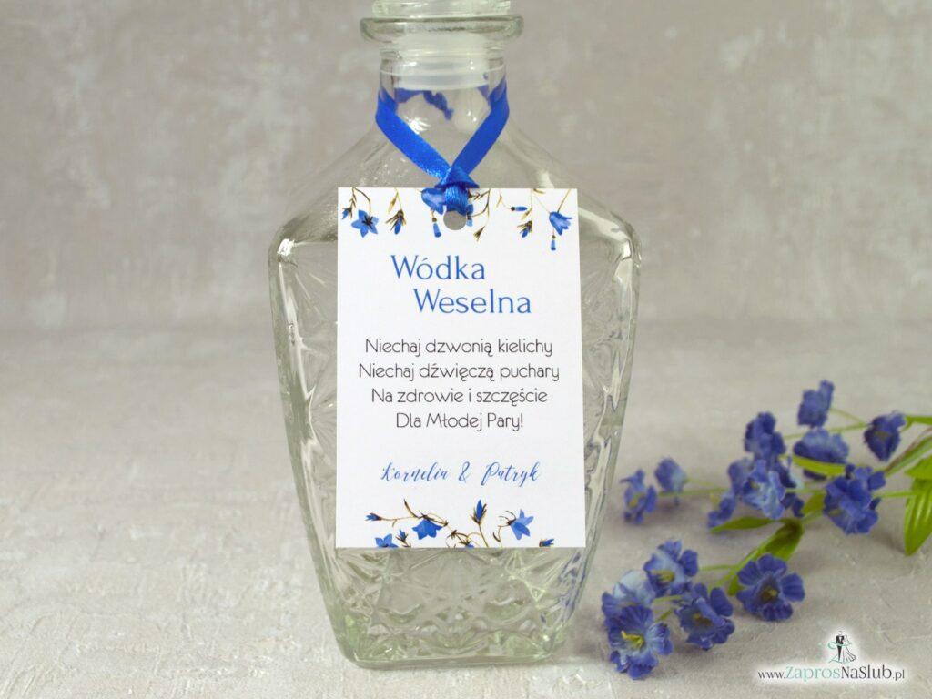 Zawieszka na alkohol kwiatowa, kwiaty dzwonków, niebieska wstążka ZAW-124-2-min