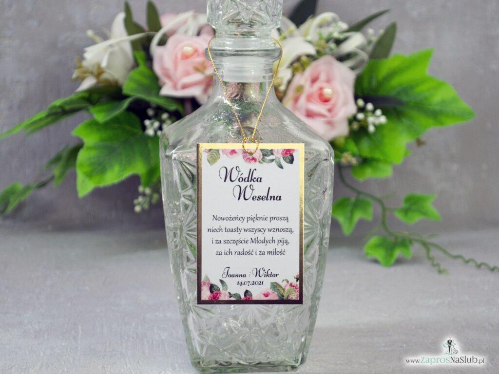 Zawieszka na alkohol na złotym papierze z efektem lustra oraz motywem kwiatów róży i zielonych liści ZAW-110-1-min