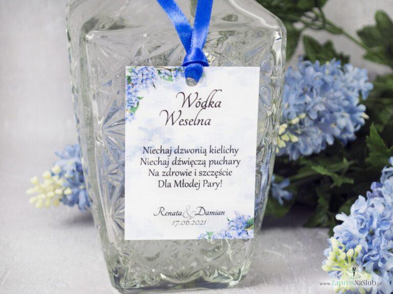 Kwiatowa zawieszka na alkohol z motywem kwiatów hortensji. ZAW-41-11 - ZaprosNaSlub